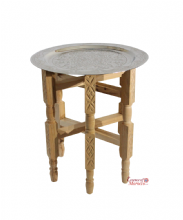 Moroccan Tray Side Table Small in Silver Maillechort with Cederwood Legs. 40 cm. Tray (STT1)